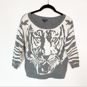 Express LION Sweater Gray White Size Small